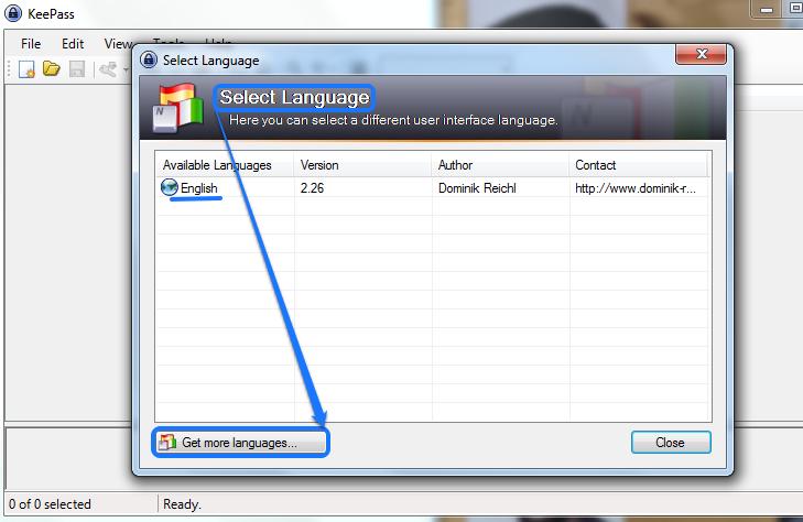 изменение языка keepass
