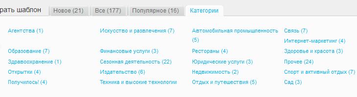 Категории шаблонов GetResponse