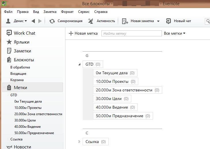 Структура меток в Evernote