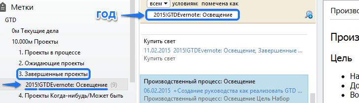 Переименование метки проекта в Evernote